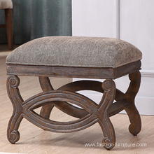 Fabric Upholstered Ottoman Stool In Birch